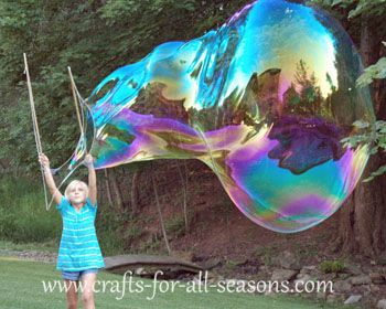 Learn how to make giant bubbles (including the soap recipe and the bubble wand) at Crafts For All Seasons.