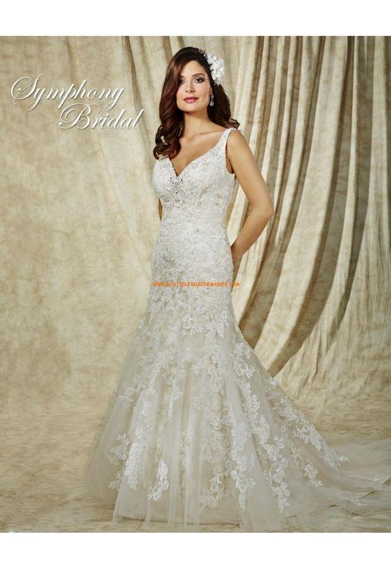 Robe de mariée sirène décolleté en V cristal dentelle