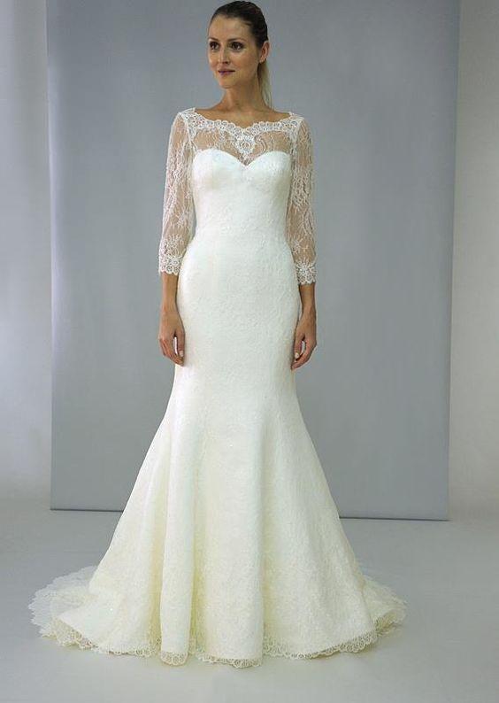 3/4 sleeve lace wedding dress from Augusta Jones.