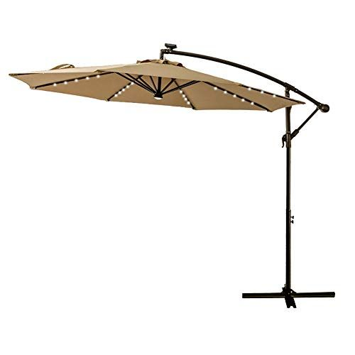 Flame Shade 10 Ft Offset Cantilever Outdoor Patio Umbrella With Solar Led Lights Beige In 2020 Outdoor Patio Umbrellas Patio Patio Umbrella