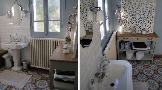 avant apr s r nover une salle de bains dans un style n o r tro recherche r tro et consoles. Black Bedroom Furniture Sets. Home Design Ideas