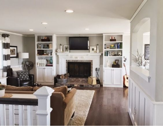 amazing split level living room | Fireplaces, Fireplace built ins and Built ins on Pinterest