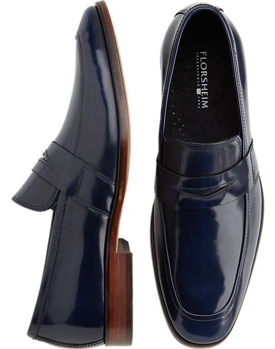 Florsheim Sonic Navy Blue Penny Loafers - Dress Shoes  Men&39s ...