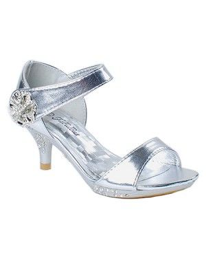 Silver Rhinestoned Floral Accent Sandals FINAL SALE (size 9 and Y2) Only 1 Left