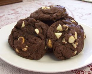 Chocolate Cookies with White Chocolate Chips