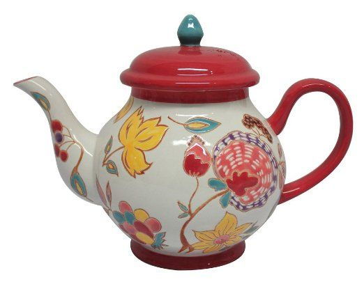 Amazon.com: Gracie China 5-Cup Dutch Wax Hand Paint Ceramic Teapot, Red Floral: Kitchen & Dining