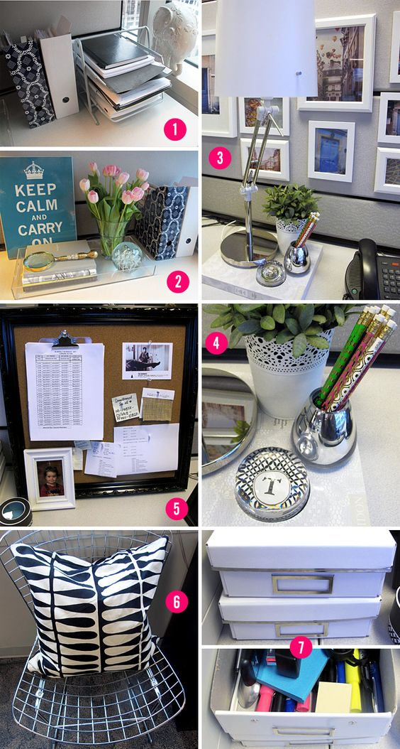 Cubicles cubicle makeover and spaces on pinterest for Cute desk decorations