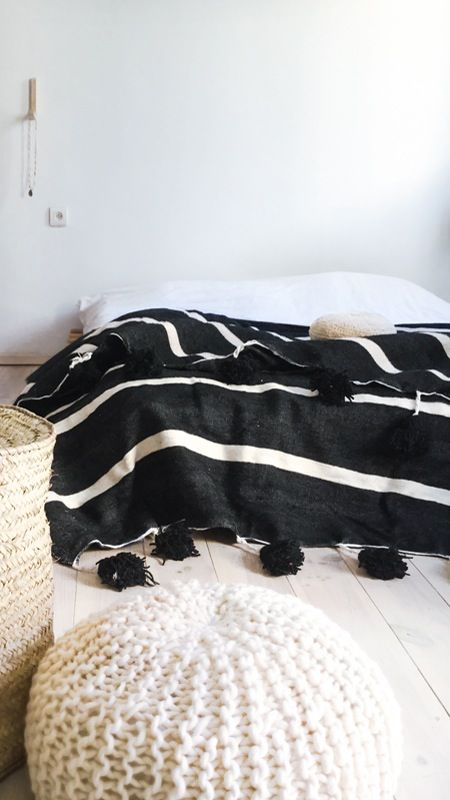 Image of Moroccan POM POM Cotton Blanket Black - White Stripes: