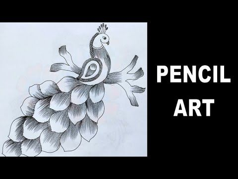 How To Draw Peacock With Beautiful Feather Design Pencil Art