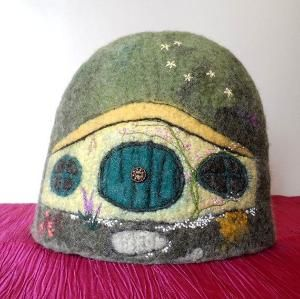 Bag End Hobbit Hole Felted Tea Cosy Wet felted, machine embroidered and hand embroidered by regina