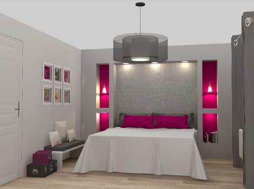 Chambre grise et rose fuchsia