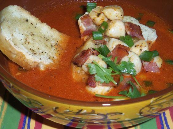 Toasted Guajillo Tomato Soup with Bay Scallops and Bacon HispanicKitchen.com