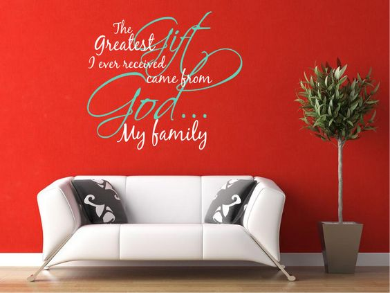 """Vinyl Decal 17"""" x 20"""" - """"The Greatest Gift I Ever Recieved Came From God"""". $27.00, via Etsy."""
