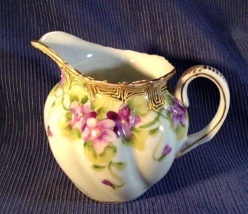SOLD! Nippon-Cream-Pitcher-Hand-Painted-Violets-With-Gilding-And-Moriage-Rising-SunTM