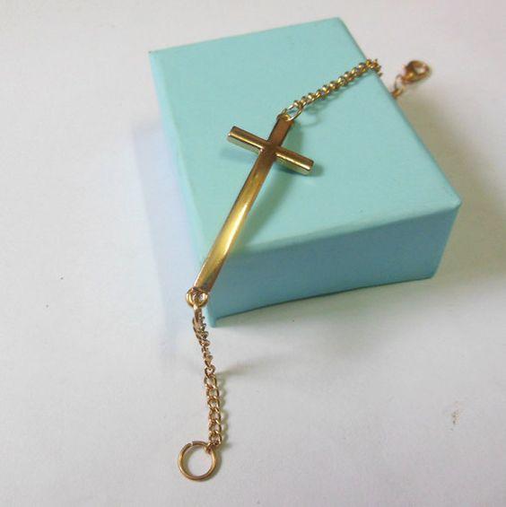 Sideways Cross bracelet  Cross bracelet in by BetsyLoveBracelet, $1.99