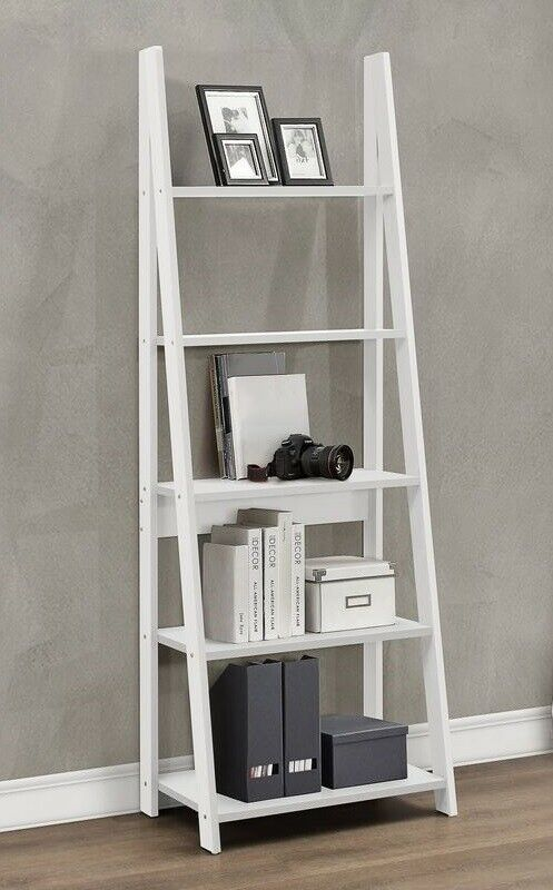 Ladder Bookcase Leaning 5 Tier Display Shelving Unit Shelf Rack Bookshelf White With Images Minimalist Bookshelves Simple Bookshelf White Ladder Bookshelf
