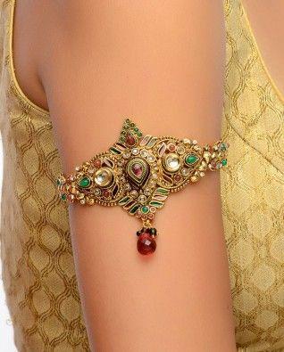 #Exclusivelyin, #IndianEthnicWear, #IndianWear, #Fashion, Golden Bajubandh with Rhinestones