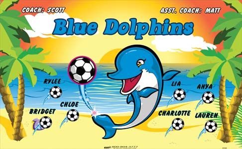 Dolphins-Blue-41560 digitally printed vinyl soccer sports team banner. Made in the USA and shipped fast by BannersUSA. www.bannersusa.com