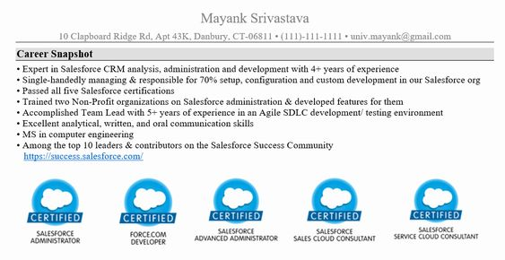 New Resume Salesforce Administrator In 2020 Resume Sales Resume Examples Build A Resume
