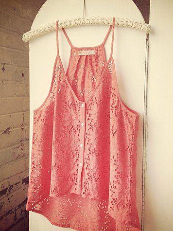 Love Sam Eyelet Tank: Coral Lace, Summer Shirts, Summery Top, Spring Summer, Cute Tank Tops, Loveeee Coral, Summer Tops