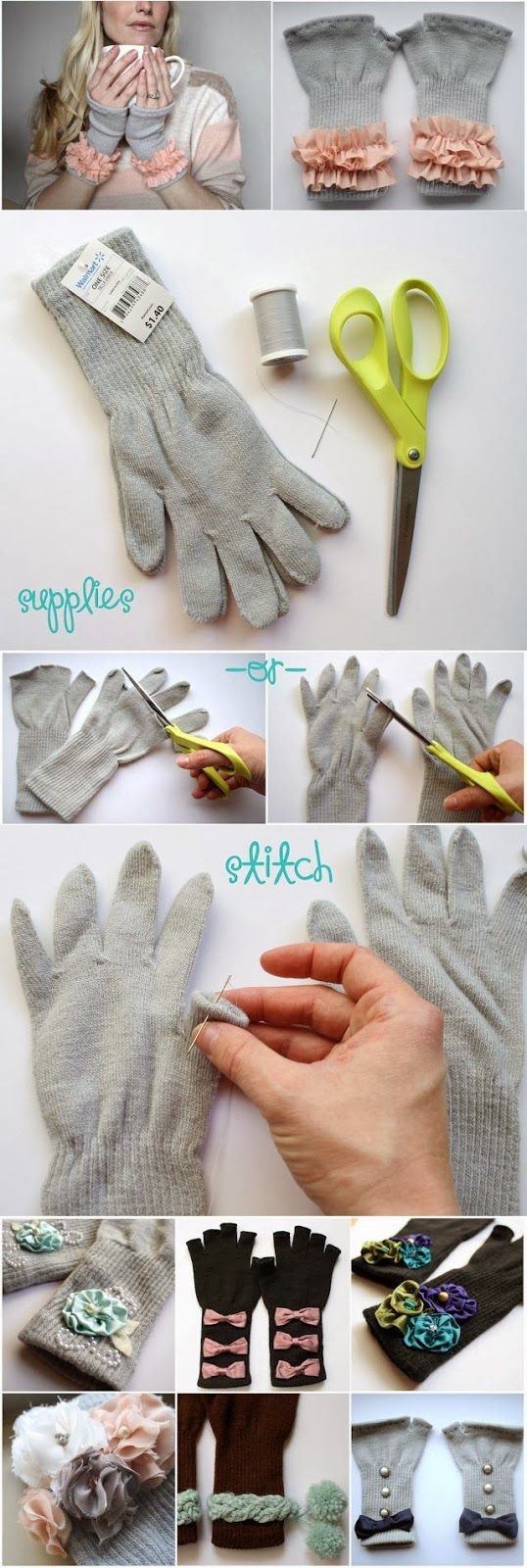 Make finger-less gloves from old pairs - perfect for chilly days in the office #DIY #recycle #craft