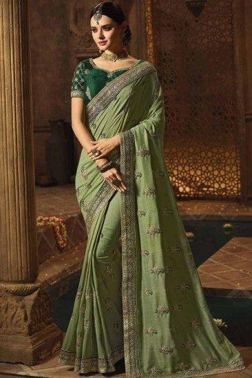 Dark Sea Green Art Silk Saree With Art Silk Blouse