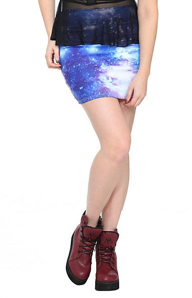 #hottopic.com             #Skirt                    #Blue #Galaxy #Contour #Mini #Skirt #Topic          Blue Galaxy Contour Mini Skirt | Hot Topic                                    http://www.seapai.com/product.aspx?PID=135754