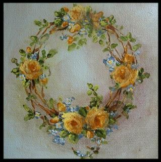 by WitsEnd,-custom rose wreath painting