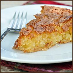 "French Coconut Pie - 3 eggs beaten, 1 1/2 c sugar, 1 c flaked coconut, 1 stick butter melted, 1 T white vinegar, 1 t vanilla, pinch of salt, 9"" uncooked pie shell. Mix filling ingredients well and pour into pie shell. Bake at 350 degrees for 1 hour. Let cool and set before slicing."