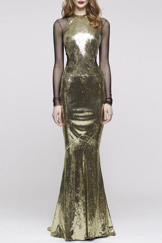 Long Golden Sequins Evening Dress - PRE-FALL 2016 ALEXANDRE VAUTHIER - #PreO now on Precouture.com