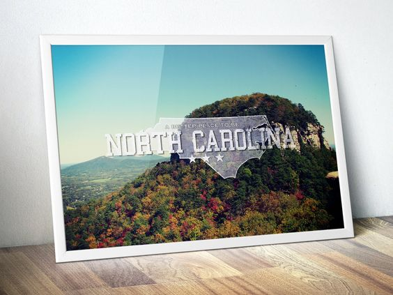 "North Carolina! Show your state pride with this original art print that celebrates the beauty of North Carolina and proudly displays the NC state slogan ""A better place to be"" and has a vintage distressed feel. Flaunt your home state in style on your bedroom, dorm or study wall and let everyone #LandscapePhotography #WallArt #HomeDecor #GiftIdea #CanvasArtPrint #BirthdayGift"