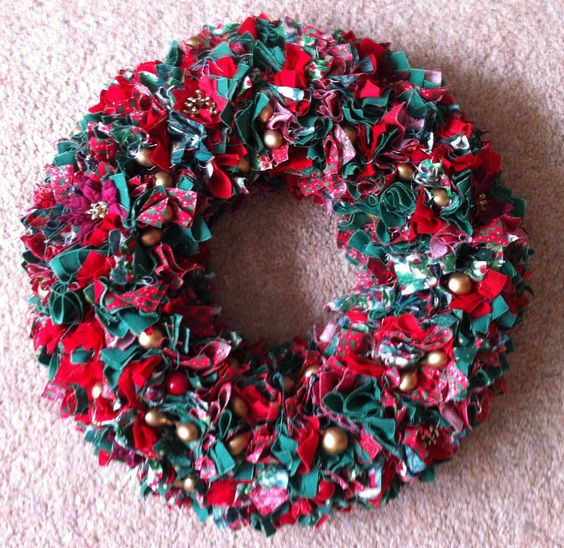 christmas wreath made from folded 2 squares of fabric On polystyrene wreath ideas