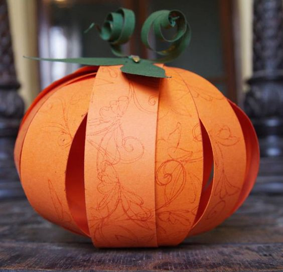 Easy DIY Make a Cute Paper Pumpkin From Strips of Paper Simple - halloween arts and crafts decorations