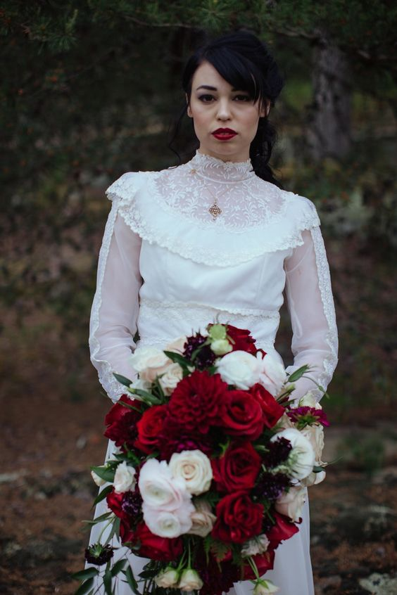 Gothic Bride with Red Bridal Bouquet