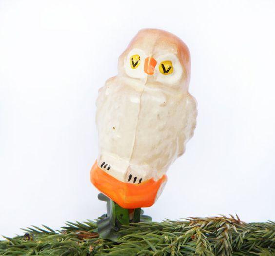Ornamento de la Navidad de Owl Bird estatuilla blanco naranja Navidad árbol…