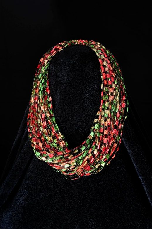 Autumn Leaves Trellis Yarn Necklace Scarf Leaves Yarns