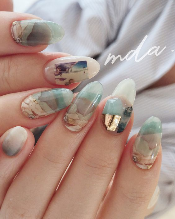 85 Nails Look Like Shattered Glass In 2018 Water Nails Boho