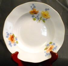 JRJS CLUJ Dessert Fruit Bowl Bone China Yellow Orange Blue Flowers Romania