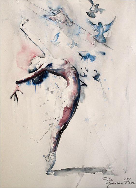 Primaballerina Aquarell Kunstdruck. Wandkunst von TatyanaIlieva