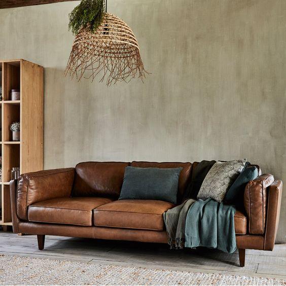 Canape 3 Places Fixe En Cuir De Vachette Marron Alinea Canape 3 Places Canape Droit Et Decoration Maison