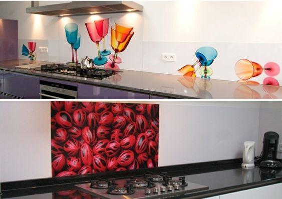 Küche Design Ideen Glas Rückwand Motive orange blau Kitchen - spritzschutz küche glas