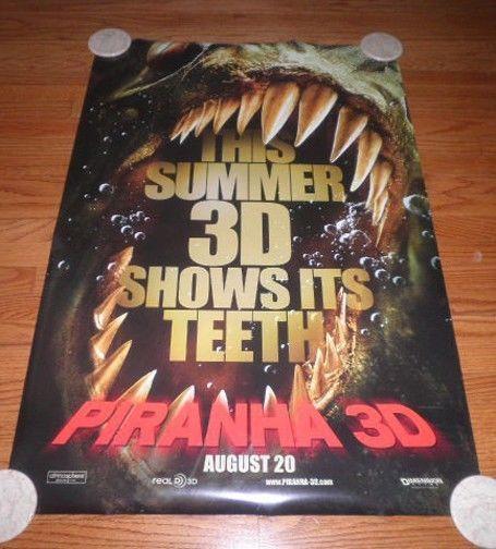 PIRANHA 3D Movie Poster One Sheet Richard Dreyfuss Kelly Brook Eli Roth