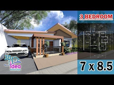 15 Small House Design 7x8 5 Size Bungalow House With 3d Animation Desain Rumah Youtube In 2020 Bungalow House Design Small House Design House Design