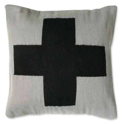 Our groovy color combination Grey and Black for our wool Cross pillow.All of our graphic pillows are hand-loomed in Peru by weavers associated with Aid to Artisans.