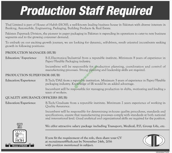House Of Habib Hoh Thal Limited Jobs Dawn Newspaper Th November