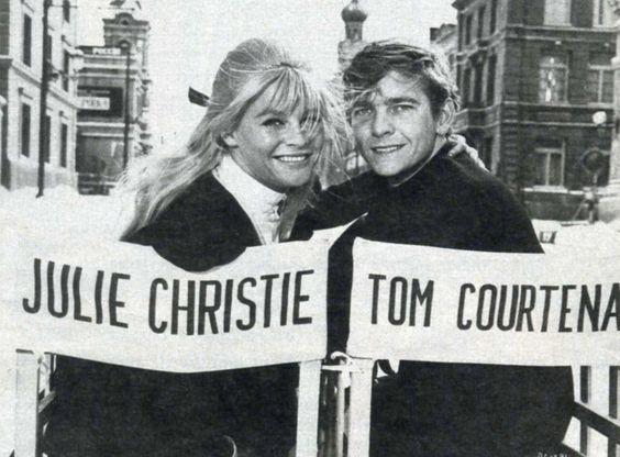"""Julie Christie y Tom Courtenay en el rodaje de """"Doctor Zhivago"""", 1965"""