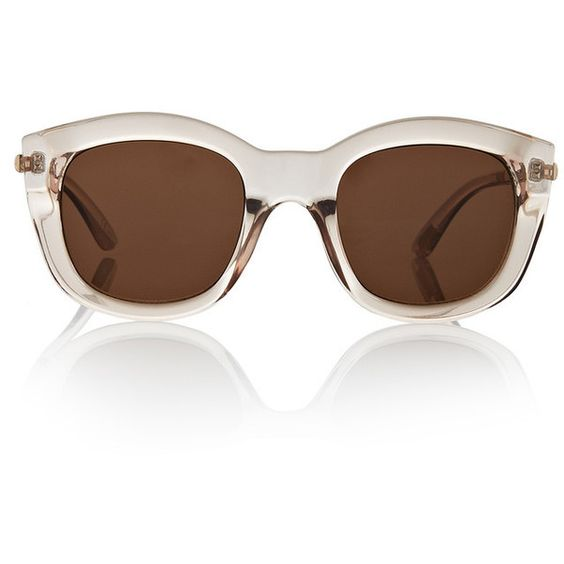 Le Specs Runaways Luxe Sunglasses (285 SAR) ❤ liked on Polyvore featuring accessories, eyewear, sunglasses, square frame sunglasses, clear sunglasses, square frame glasses, le specs and rounded sunglasses