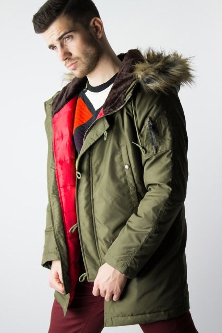 Army Green Staff Jeans Liam winter coat for men. This heavy duty