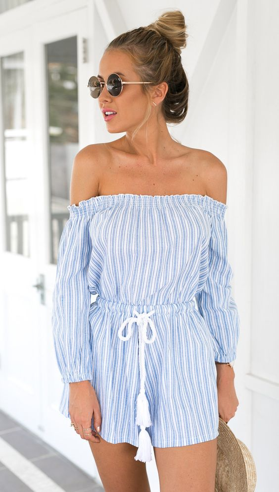 Molly Blue Striped Off Shoulder Romper:
