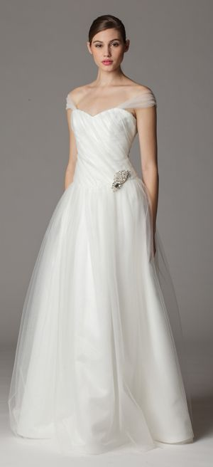Style 279. Off shoulder wedding dress. http://www.ariadress.com/wedding-dresses/Style279FA.php